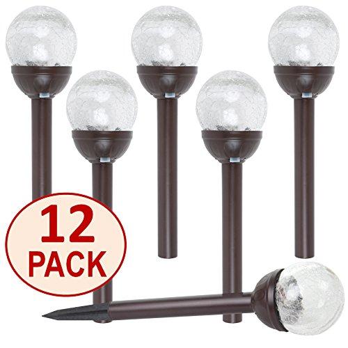 SET OF 12 Crackle Glass Globe Color-Changing LED & White LED