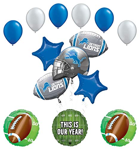 Lions Football Balloon - Mayflower Products Detroit Lions Football Party Supplies This is Our Year Balloon Bouquet Decoration