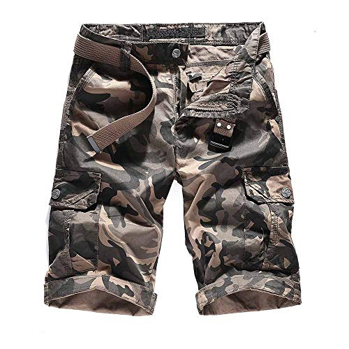 Men's Multi Pocket Loose Fit Cotton Twill Cargo Shorts Camo Cargo Military Shorts Beach Shorts Boardshorts with Belt ()