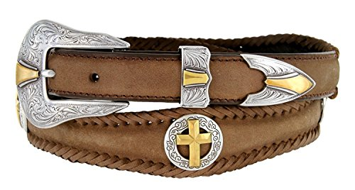 Gold Christian Cross Conchos Western Leather Scalloped Belt Brown 38