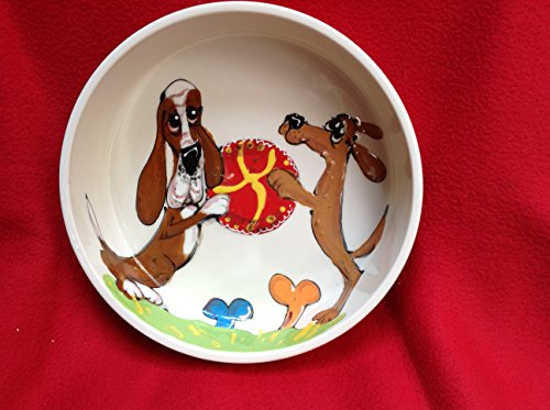 Basset Hound 10'' Dog Bowl for Food or Water. Personalized at no Charge. Signed by Artist, Debby Carman. by Faux Paw Productions, Inc., Laguna Beach, CA