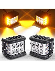 Side Shooter, 4inch Light Pods Off Road LED With Strobe Dual Side Yellow DRL Driving Lights for Jeep Truck ATV SUV UTV 4x4