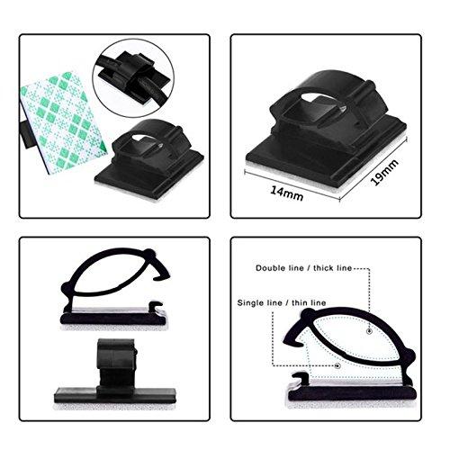 Cikuso 20pcs Clips de cable de voiture adhesifs Enrouleur de cable Attache de fil de goutte Fixation Porte-cable Rangement Organisateur de cordon Serre-cables de bureau