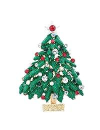 Green Rhinestone Crystals Christmas Tree Brooch Broach Pin Women Jewery P5287
