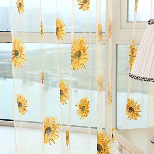 Translucidus Polyester Sunflower Tulle Curtains Living Room Kitchen Indoor Window Balcony Voile Curtain Home Textiles Yellow