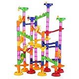 Marble Runs Toy Set DIY Construction Marble Race Run Maze Balls Track Building Blocks Educational Toy for Baby Kid(105Pcs)
