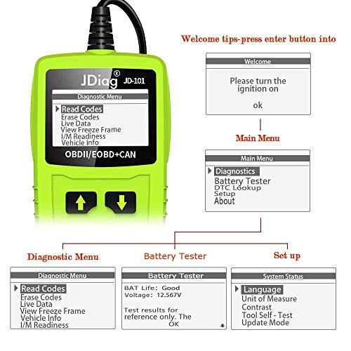 JDiag OBD2 Scanner Auto Check Car Engine Fault Code Reader Enhanced Universal OBD II Classic Diagnostic Scan Tool Suitable for EOBD/CAN Vehicles by JDIAG (Image #5)