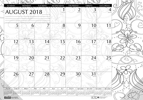 018 - 2019 Monthly Desk Pad Calendar, Academic, Black and White Doodle, 18.5 x 13 Inches, August - July (HOD18765-19) (White Desk Pad Calendar)