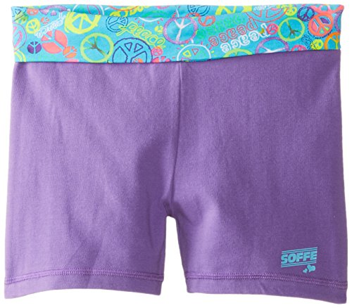 Soffe Big Girls' Cutie Short, Grape/Turquoise/Glitter Peace, Medium