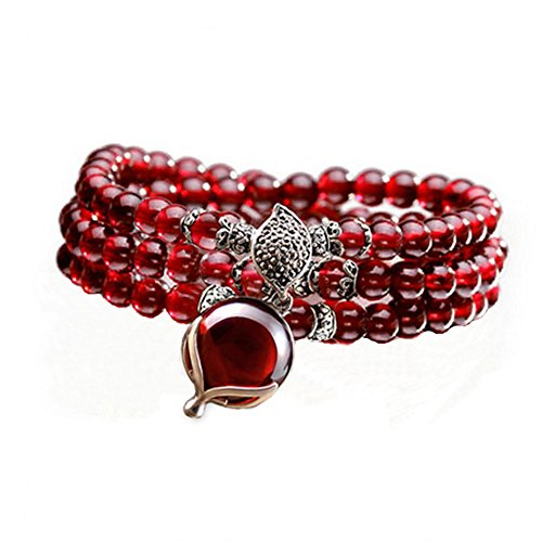 Jade Angel 5mm Round Genuine Garnet Beads Bracelet with 925 Silver Marcasite Garnet Charm 20 inches