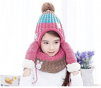 513b3692359 Buy New 2017 hats scarf gloves three - piece warm autumn winter boys girls  baby caps collars sets tide kids (Pink