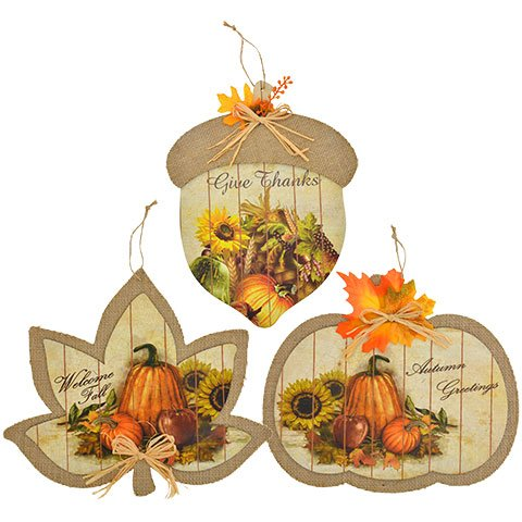 Harvest Festive Burlap Hanging Decor Signs ( One Random Vary Give Thanks ,Welcome Fall or Autumn Greetings) (Village Homemade Christmas Cardboard)