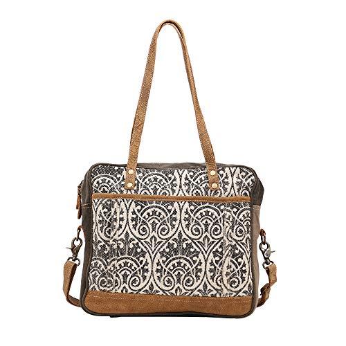 - Myra Bag Stiple Print Upcycled Canvas & Leather Messenger Bag S-1429