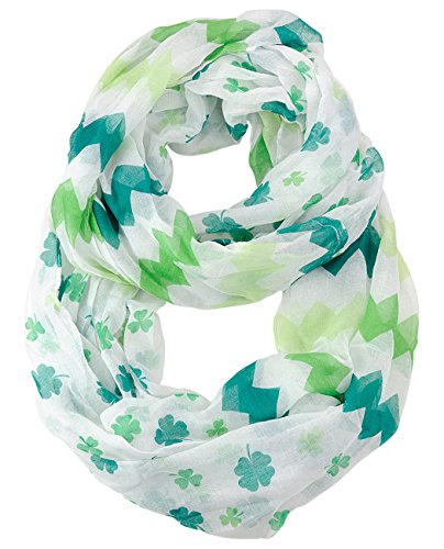 Loop Scarf Accessory (D&Y Women's St. Patrick's Day Lucky Clover Sheer Infinity Loop Scarf, Chevron Shamrock, White)
