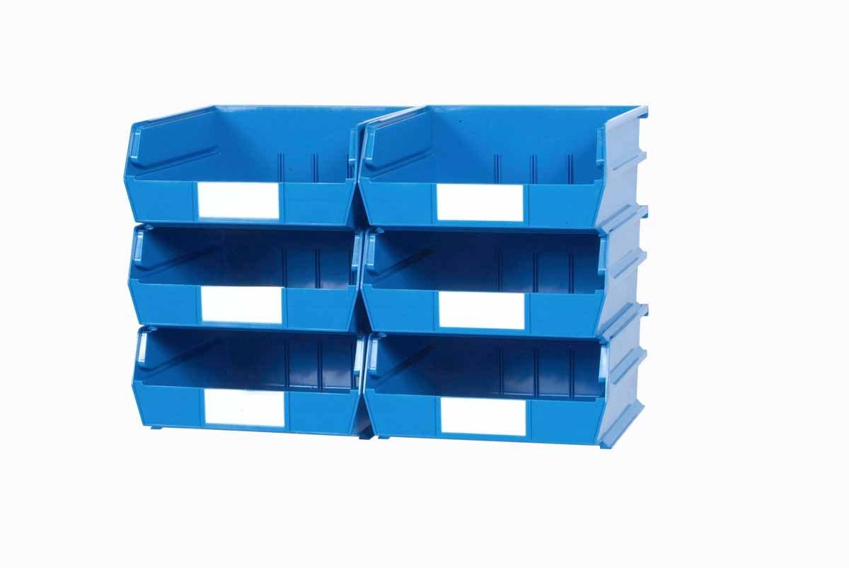 Triton Products 3-235BWS LocBin 8 Piece Wall Storage Unit with 10-7/8 Inch L x 11 Inch W x 5 Inch H Blue Interlocking Poly Bins, 6 CT, Wall Mount Rails 8-3/4 Inch L with Hardware, 2 pk