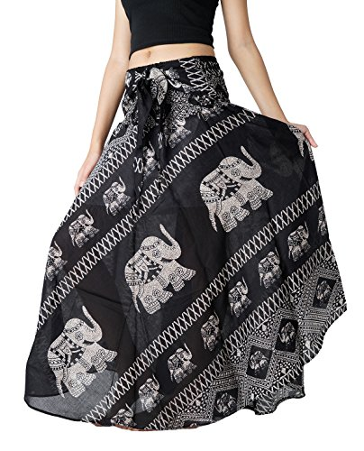 Skirt Indian Wrap - Bangkokpants Women's Long Bohemian Hippie Skirt Boho Dresses Gypsy Clothes Elephant One Size (Black, One Size)