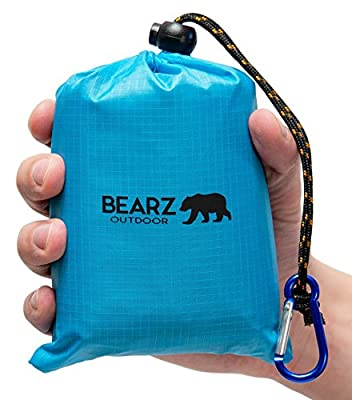 BEARZ Outdoor Beach Blanket/Compact Pocket Blanket 55?x60? - Waterproof Ground Cover, Sand Proof Picnic Mat for Travel, Hiking, Camping, Festival, Sports - Durable Tarp w/Corner Pockets, Loops, Bag