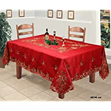 "Creative Linens Holiday Christmas Tablecloth 70x140"" With 12 Napkins Embroidered Bell Ornament Pinecone Winter Table Linen Rectangular Red Gold"