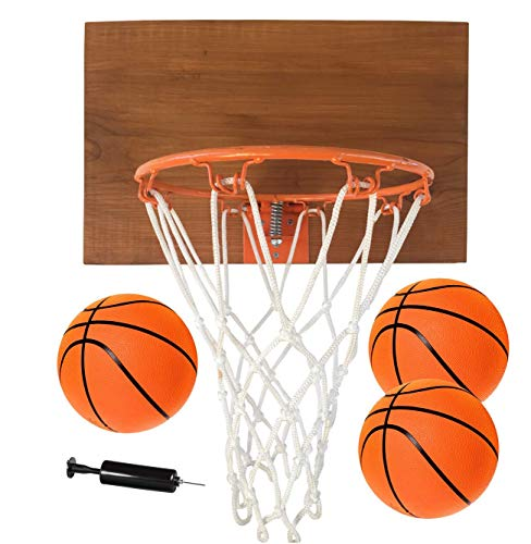 FATPLANTS Decorative, Indoor Wooden Basketball Backboard with 9 inch Hoop, 3 Basketballs and Pump, Natural Cedar, 1 Panel