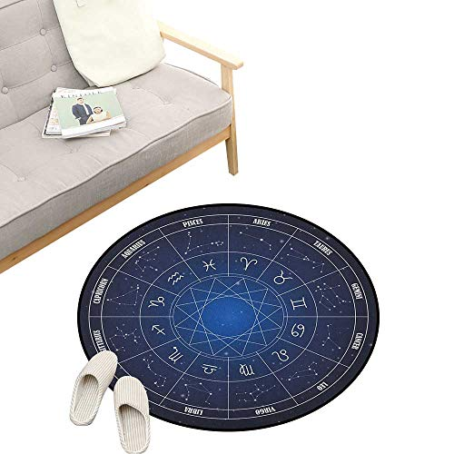 Astrology Round Rugs for Bedroom ,Zodiac Horoscope Chart in Wheel Shape with Dates in Space Dots Image, Skid Resistant Rug Pet Pad 47