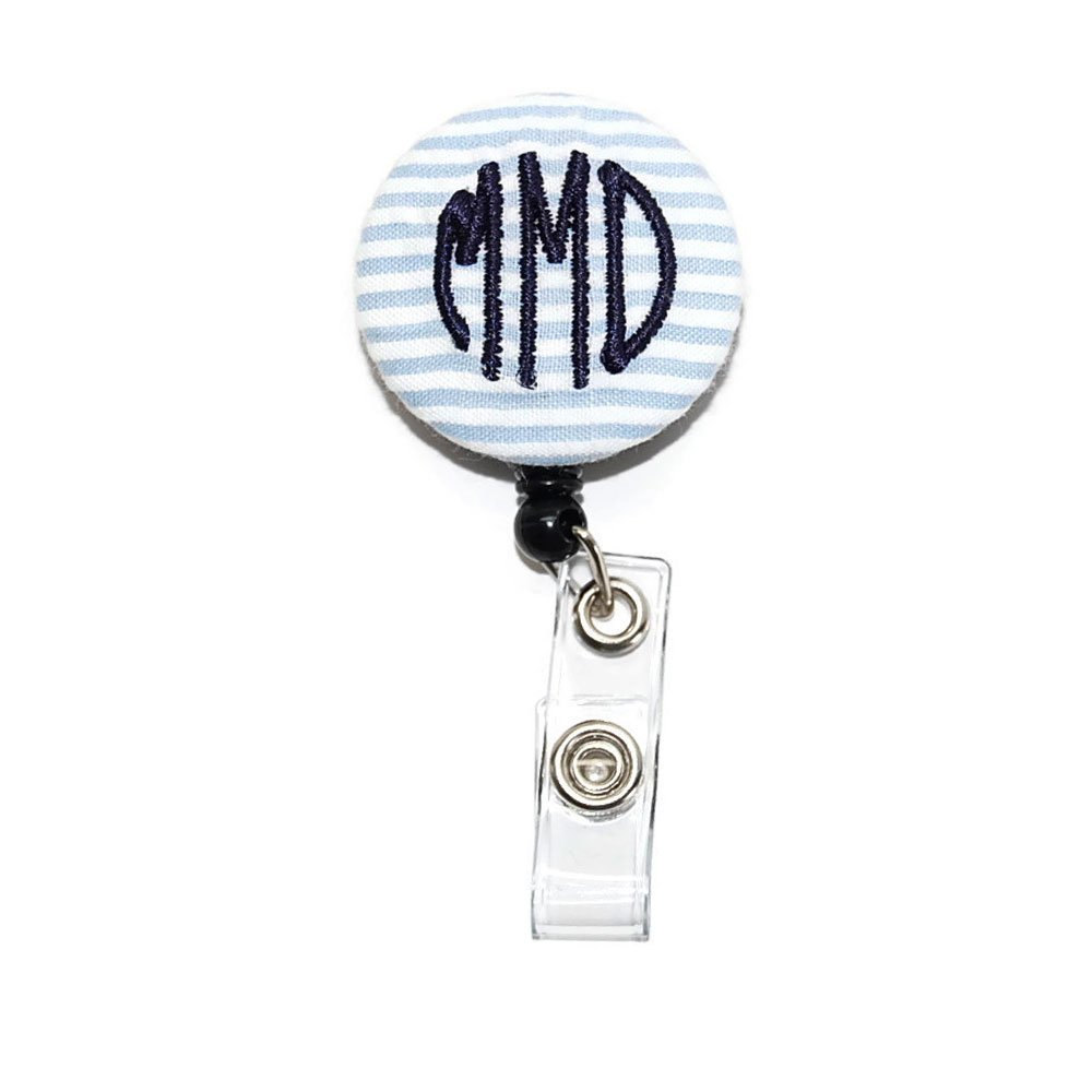 Monogrammed Blue Seersucker with Your Letters Badge Reel Retractable for ID or Key Card Free Shipping