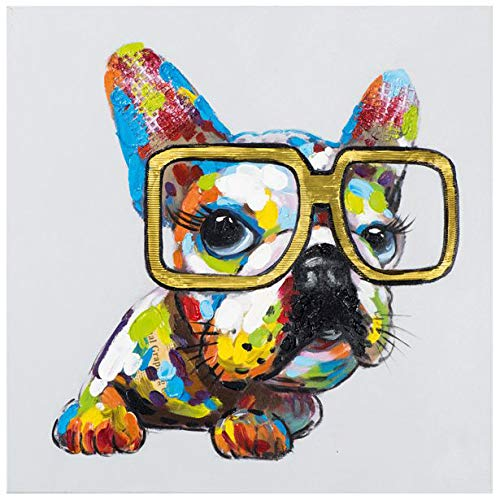 Faicai Art Lovely Blue Yellow Bulldog Paintings Animal Dog Pop Art Wall Decor Handmade Oil Paintings Canvas Wall Art for Children Room Bedroom Modern Home Decor Art Pictures