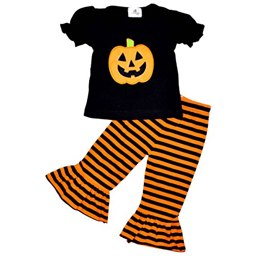 Unique Baby Baby-Girls 2 Piece Halloween Pumpkin Single Ruffle Outfit (Halloween Pumpkin Girl)