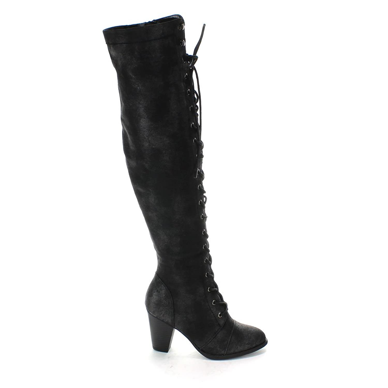 Amazon.com | Forever Womens Chunky Heel Lace Up Over The Knee High ...