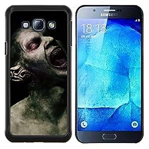 KLONGSHOP // Cubierta de piel con cierre a presión Shell trasero duro de goma Protección Caso - Monstruo Spooky Demon Hombre - Samsung Galaxy A8 A8000 //