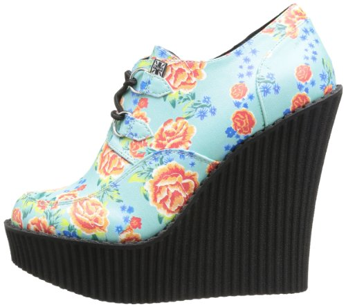 Creeper k T Floral Print tropical Lace up Oxford Wedges Women's u Green gUEUx4