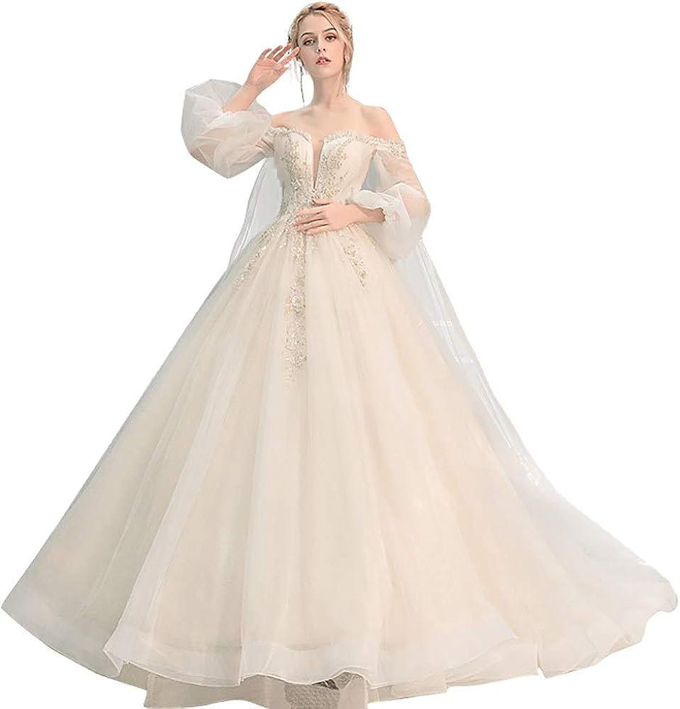 roroz Hochzeitskleider Damen Prinzessin Mit Laternenärmel