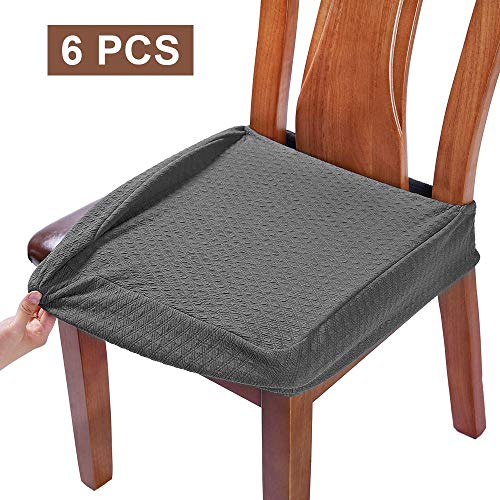 BUYUE Dining Room Chair Covers Washable Jacquard Stretch Seat Cushion Protector for Upholstered Chair Slipcover (Style B,Set of 6, Gray) (Sets Room Cheap For 6 Dining)