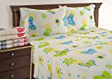 Linenwalas Butterfly Sheets Twin XL - Luxury Toddler Bed Sheet Set | Deep Pocket Printed Butterfly Bedding | Silky Soft Like Cotton (Twin XL)