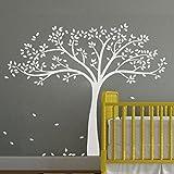 "Einfarbige Fall Tree Extended Mauer Aufkleber Tree Wandaufkleber Vinyl Baum Aufkleber Kinderzimmer Art Wand Dekoration, Vinyl, Weiß, 69""hx87""w"