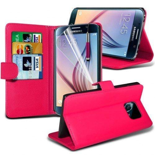 Samsung Galaxy S6 Cubierta del caso con cuero (Rosa caliente) Plus de regalo libre, Protector de pantalla y un lápiz óptico, Solicitar ahora mejor caja del teléfono Valorado en Amazon! By FinestPhoneC