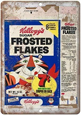 GFGKKGJFD709 Kelloggs Frosted Flakes Caja de Cereales de Metal Vintage Retro Divertido Metal Lata Placa de Pared para Hombre Cueva Garaje Bar Cafe decoración de Pared Novedad Regalos: Amazon.es: Hogar