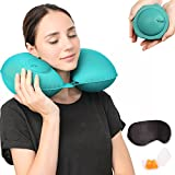 Travel Pillows for Airplanes Inflatable Super Light and Portable Neck Pillow Travel with Sleeping Mask and Earplugs