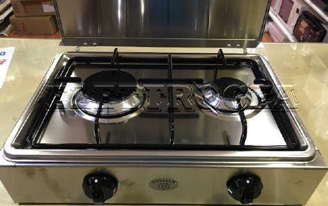 elettrogea – Hornillo 2 Fuegos Multigas de acero inoxidable ...