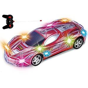 Haktoys Light Up Racing Red 1:24 Scale RC Sports Car with Spectacular Dazzling Flashing LED Lights | Radio Control Vehicle with Flexible Antenna | Safe and Durable | Gift, Toy for Kids, Boys and Girls