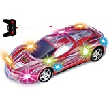 Haktoys Light Up Radio-Control Racing RC Sports Car for Kids, Boys & Girls with Spectacular Dazzling Flashing LED Lights