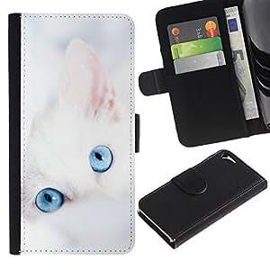 KingStore / Leather Etui en cuir / Apple Iphone 5 / 5S / Lindo gatito blanco invierno Clean Baby Blue