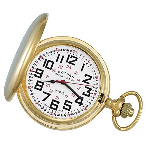Pocket Watch Quartz Gold Tone - Gotham Men's Gold-Tone Railroad Polished Finish Covered Quartz Pocket Watch # GWC15044G