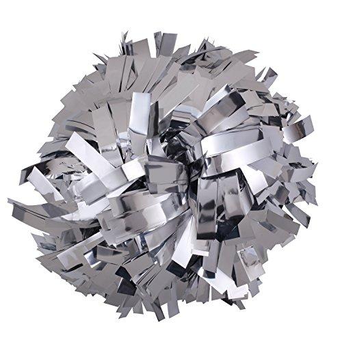 ICObuty Metalic Cheerleader Cheerleading Pom pom 6 inch 1 Pair (Silver)