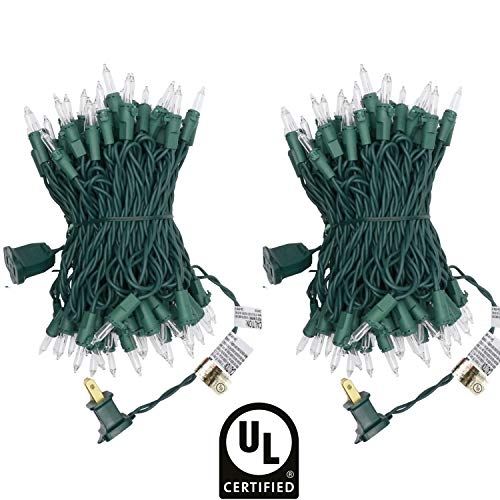UL Certified 66 Feet 200 Count Clear Christmas String Lights, Pack of 2 Sets 33 Ft 100 Count Commercial Grade Lights Set, Connectable Decor Lights for Patio Garden Wedding Holiday ()