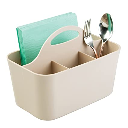 5 Compartment Plastic Cutlery Holder Tray Drawer Organiser Rack Taupe