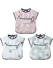 3 Pcs Baby Long Sleeved Bibs Waterproof ARZER Unisex Feeding Bib Smock for Toddler Bibs with Sleeve 6-36 Months