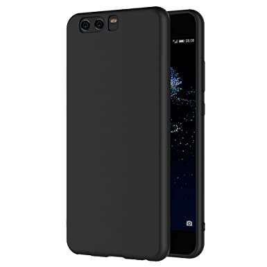 the best attitude 1772e 68f46 AICEK Huawei P10 Case, Black Silicone Cover for Huawei P10 Black Case