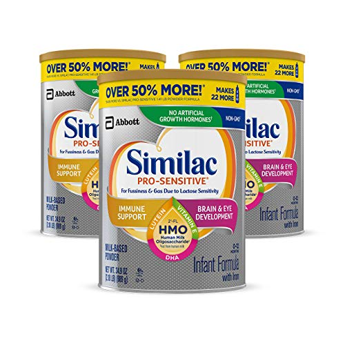 Similac Pro-Sensitive Non-GMO Infant Formula with Iron, with 2'-FL HMO, for Immune Support, Baby Formula, Powder, 34.9 oz, 3 Count (One-Month Supply) ()