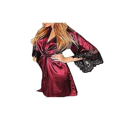 Amazon.com: Women Lace Lingerie Belt Bath Robe Nightwear,Ladies Sexy Silk Kimono Dressing Babydoll (L, Red 2): Health & Personal Care