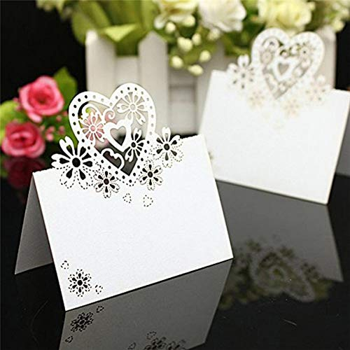 Wedding Decoration - 50pcs Pack Love Heart Cut Wedding Party Table Name Card Favor Decor Decoration - Marriage Identity List Bill Fare Discover Wit Cite Calling Distinguish Tease